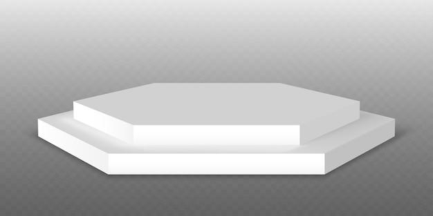 Podio blanco. plataforma de pedestal o stand de exposición. plataforma de escenario de estudio blanco