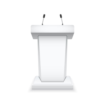 Podio blanco tribuna con micrófonos.