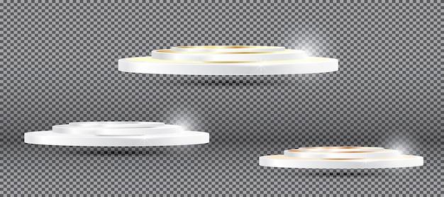 Podio de bronce de plata de oro sobre fondo transparente. ilustración de vector.