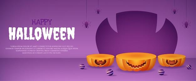 Podio de calabaza de exhibición de producto 3d con bola púrpura y banner de araña