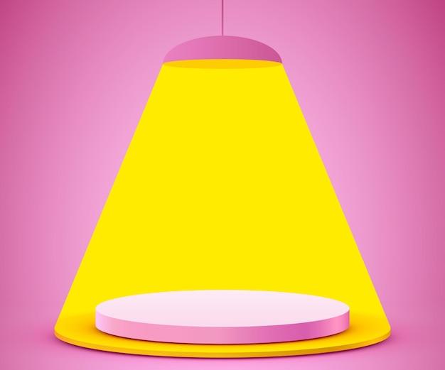 Podio de cilindro de fondo de escena abstracta en maqueta de presentación de producto de fondo rosa mostrar pedestal o plataforma de escenario de podio de producto cosmético