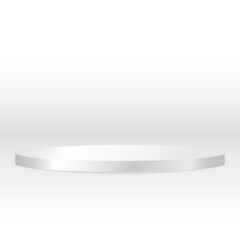 Podio circular blanco con pedestal redondo en blanco para una exhibición publicitaria de productos de lujo excepcional