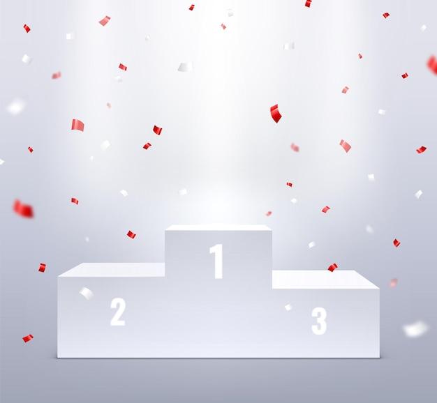 Podio y confeti. pedestal deportivo para ganadores, premio escaleras 3d.
