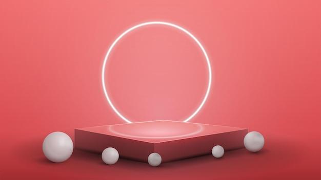 Podio cuadrado rosa con esferas blancas realistas alrededor y anillo de neón en el fondo