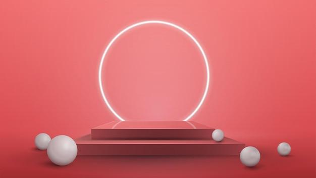 Podio cuadrado vacío con esferas realistas y anillo de neón en el fondo