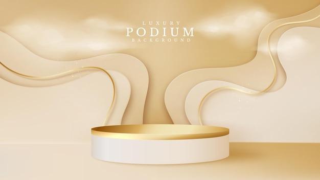 Podio dorado y nubes con elemento de escena de estilo de corte de papel. fondo abstracto de lujo. podio en forma de cilindro para mostrar el producto o escenario para la ceremonia de premiación. ilustración vectorial.