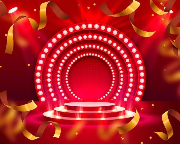 Podio de escenario con confeti de iluminación, escena de podio de escenario con ceremonia de premiación sobre fondo rojo, ilustración vectorial
