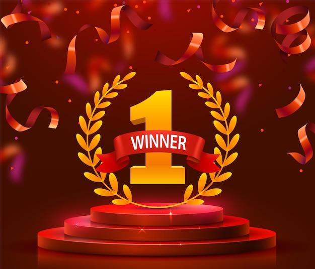 Podio de escenario con iluminación y confeti, escena de podio de escenario con ceremonia de premiación sobre fondo rojo. ilustración vectorial