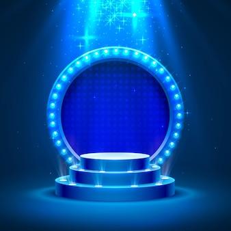 Podio de escenario con iluminación, escena de podio de escenario con ceremonia de premiación sobre fondo azul, ilustración vectorial