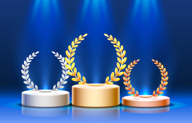 Podio de escenario con iluminación, escena de podio de escenario con ceremonia de premiación sobre fondo azul
