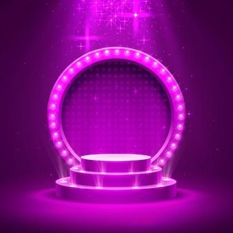 Podio de escenario con iluminación, escena de podio de escenario con ceremonia de premiación sobre fondo púrpura, ilustración vectorial
