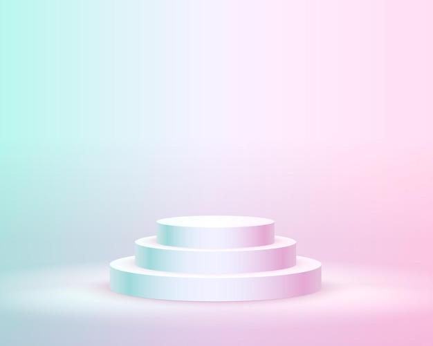Podio de escenario con iluminación, escena de podio de escenario con ceremonia de premiación sobre fondo rosa, ilustración vectorial