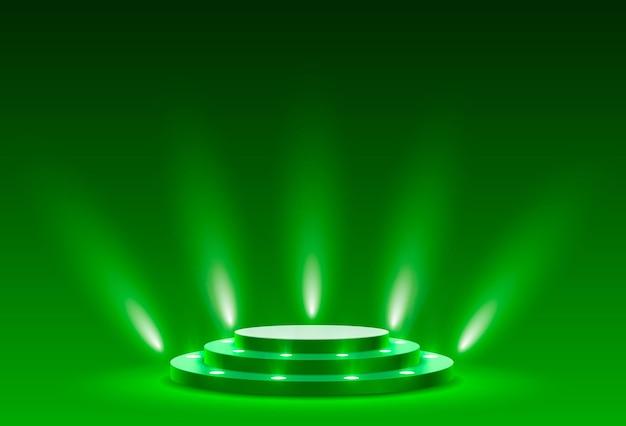 Podio de escenario con iluminación, escena de podio de escenario con ceremonia de premiación sobre fondo verde, ilustración vectorial