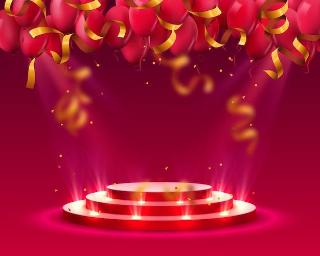 Podio de escenario con iluminación y globos, escena de podio de escenario con ceremonia de premiación sobre fondo rojo, ilustración vectorial