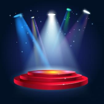 Podio de escenario con iluminación.