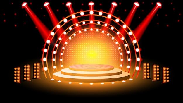 Podio de escenario con iluminación