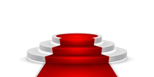 Podio de escenario redondo. escena de podio festiva con alfombra roja para la ceremonia de premiación.