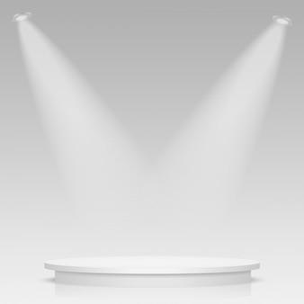 Podio de escenario redondo iluminado con luz.
