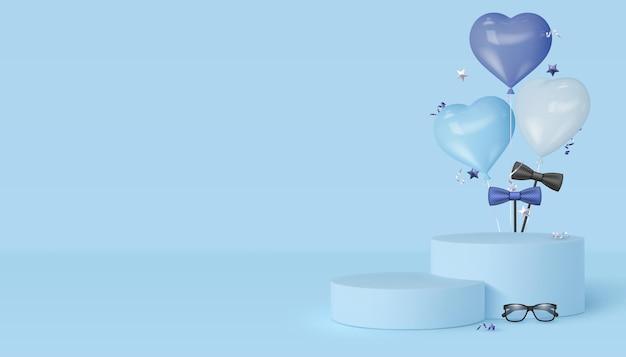 Podio de exhibición de feliz día del padre con gafas, pajarita y globos de corazón. fondo azul