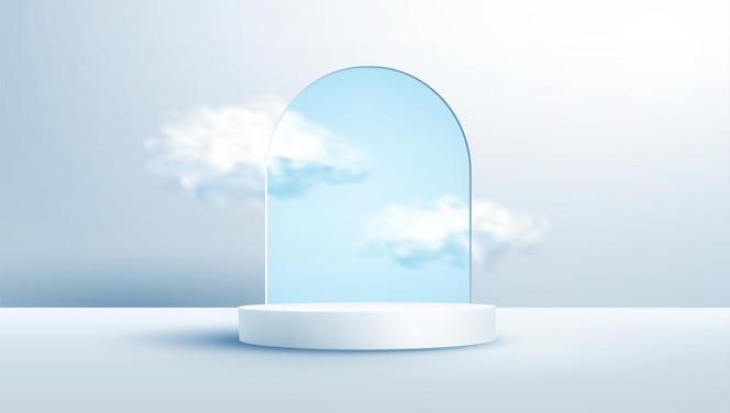 Podio de exhibición de producto decorado con nubes realistas en marco de arco de vidrio sobre fondo azul claro pastel