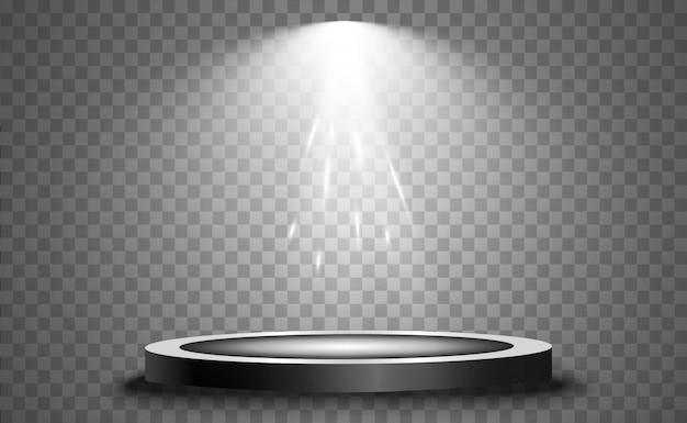 Podio con un foco de atención, primer lugar, fama y popularidad. podio realista iluminado por focos.