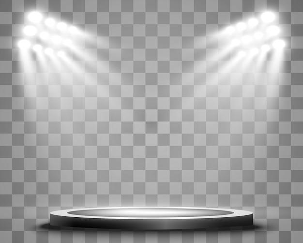 Podio con un foco sobre un fondo oscuro, primer lugar, fama y popularidad. ilustración. podio realista iluminado por focos.