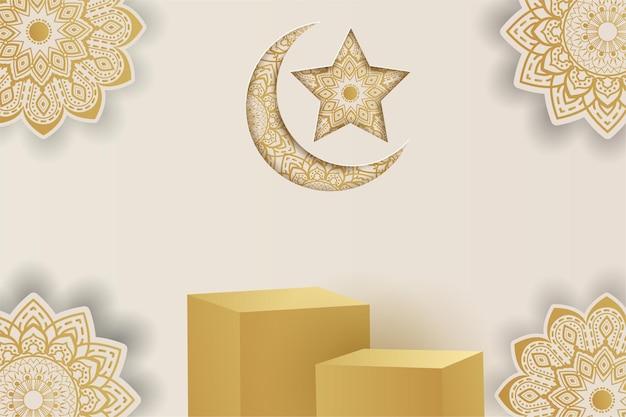 Podio de fondo islámico de ramadan kareem