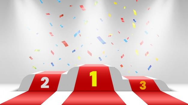Podio de ganadores blanco con alfombra roja y confeti. escenario para entrega de premios. pedestal con focos. ilustración.