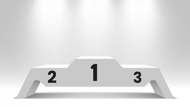 Podio de ganadores en blanco blanco con focos. pedestal. ilustración.