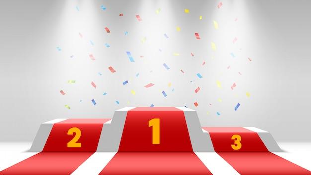Podio de ganadores blancos con alfombra roja y confeti. escenario para entrega de premios. pedestal con focos.