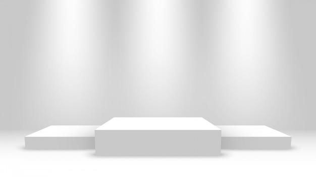 Podio de ganadores blancos con focos. escenario para entrega de premios. pedestal.
