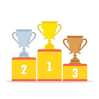 Podio de ganadores con copas de oro, plata y bronce. estilo de dibujos animados plana