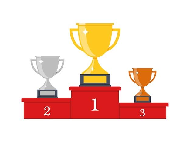 Podio de ganadores con copas. premios para los campeones. copas de oro, plata y bronce. ilustración en estilo plano.