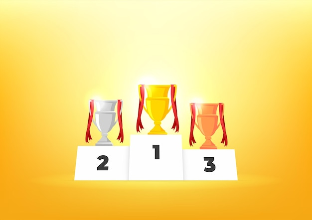 Podio de ganadores con copas. premios para los campeones. copas de oro, plata y bronce.