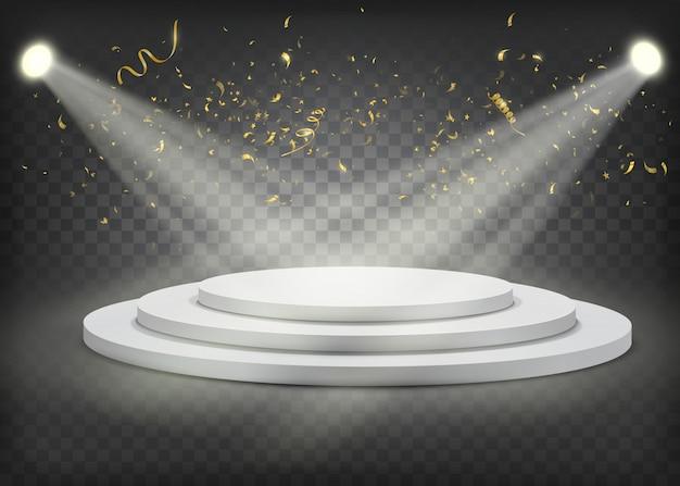 Podio de los ganadores redondos blancos con confeti dorado.