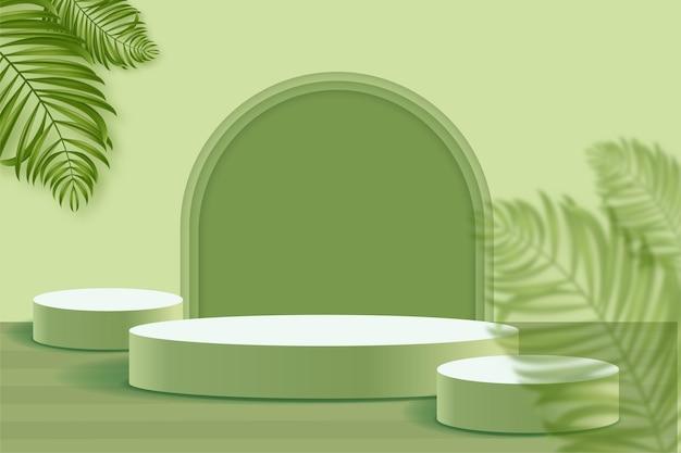 Podio geométrico 3d para colocación de productos con fondo circular y color editable