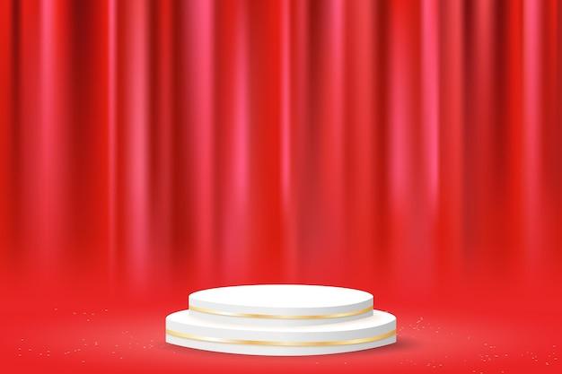 Podio geométrico minimalista con cortina roja.