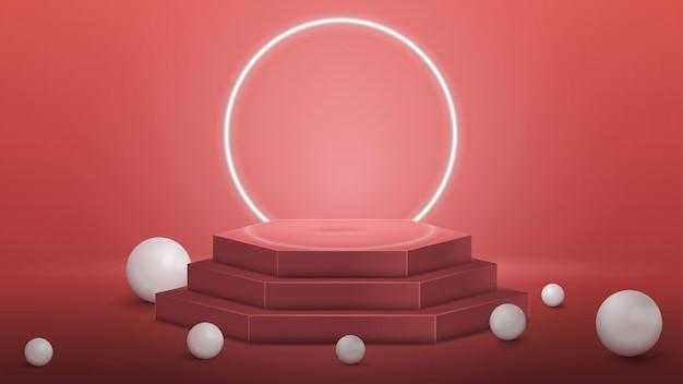 Podio hexagonal rosa con esferas realistas y anillo de neón en el fondo en una habitación rosa vacía