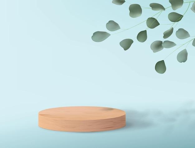 Podio de madera clara para demostración de productos. fondo azul con hojas de árboles verdes y un pedestal vacío
