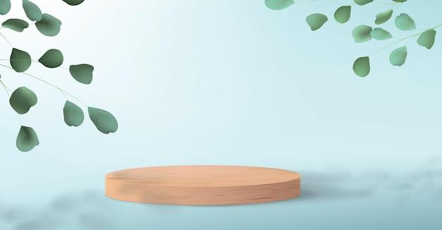 Podio de madera para demostración de productos. fondo azul con hojas de árboles verdes y un pedestal vacío para exhibir cosméticos.