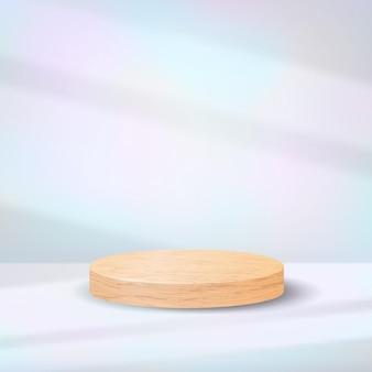 Podio de madera realista sobre fondo pastel iridiscente con efecto de superposición de sombras. escena mínima con pedestal de cilindro en blanco para exhibición de productos. plataforma de madera natural de lujo.