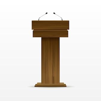 Podio de madera tribuna tribuna soporte con micrófono