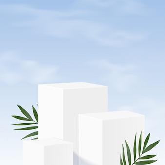 Podio minimalista de mármol blanco geométrico en blanco
