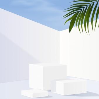 Podio minimalista de mármol blanco geométrico con cielo