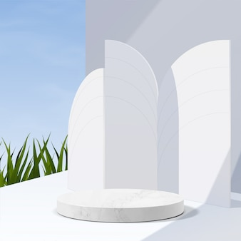 Podio minimalista de mármol blanco geométrico