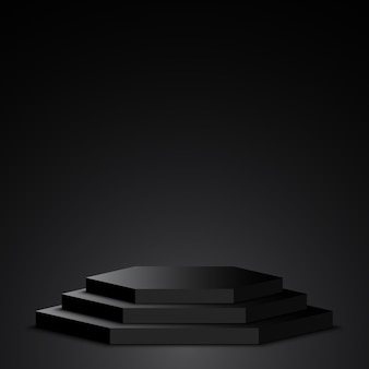 Podio negro. pedestal. escena.