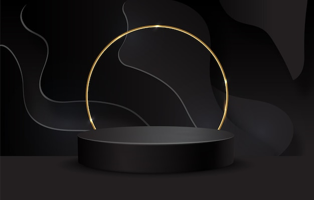 Podio negro sobre fondo negro. pedestal realista. fondo oscuro.
