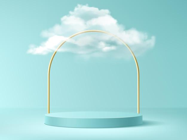 Podio con nubes y arco dorado, fondo abstracto con escenario cilíndrico vacío para la ceremonia de premiación