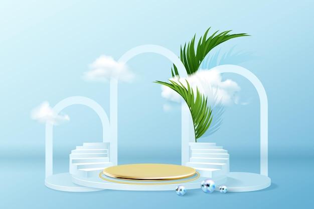 Podio con nubes y escenario dorado vacío para presentación del producto.