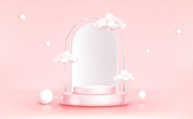 Podio con nubes con esferas geométricas, escenario cilíndrico vacío para ceremonia de premiación o plataforma de presentación de producto